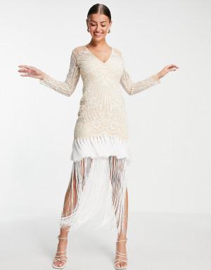 Кремовое платье макси с вышивкой, длинными рукавами, глубоким вырезом и бахромой по подолу ASOS DESIGN-Multi