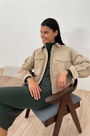 женская рубашка c объемными рукавами и карманами Finn-Flare